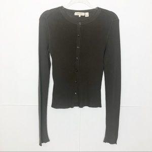 EUC Inhabit Taupe button down cotton cardigan